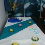 Massagebädd i blå rummet.